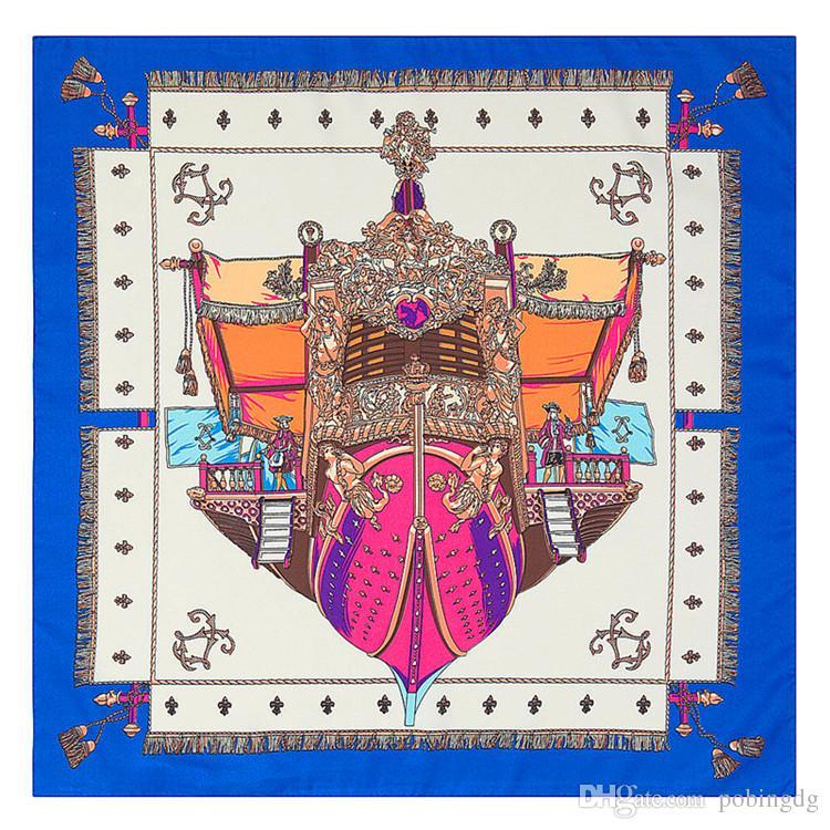 60cm*60cm Twill Silk Euro Style Women Square Scarf Anchor Boat Print Scarves Spring And Autumn Foulard Female Fashion Shawls Kerchief