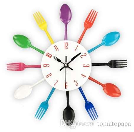 cutlery metal kitchen wall clock spoon fork creative quartz wall mounted clocks modern design decorative horloge murale hot sale blue wall clocks brass wall - Kitchen Wall Clocks