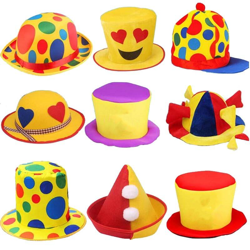 2018 New Funny Clown Hat Men Women Stage Performance Costume Head Accessories Adults Halloween Carnival Party Hats Personalized First Birthday