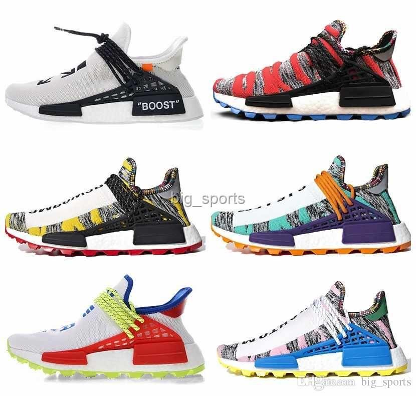 best loved 8d80e 4cc8c Compre 2018 NMD Creme X NERD Human Race Solar Pack Zapatos Para Correr  Pharrell Williams Hu Trail Cream Core Negro Igualdad Hombres Zapatillas De  Deporte De ...