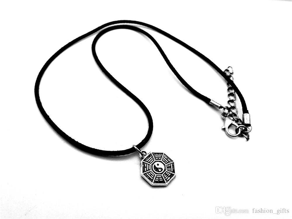 12P-Antique silver Simple Taiji Bagua Map Feng Shui Pendant Necklace Chinese Style Fantastic Ying Yang Tai Chi Gossip Leather Rope Necklaces