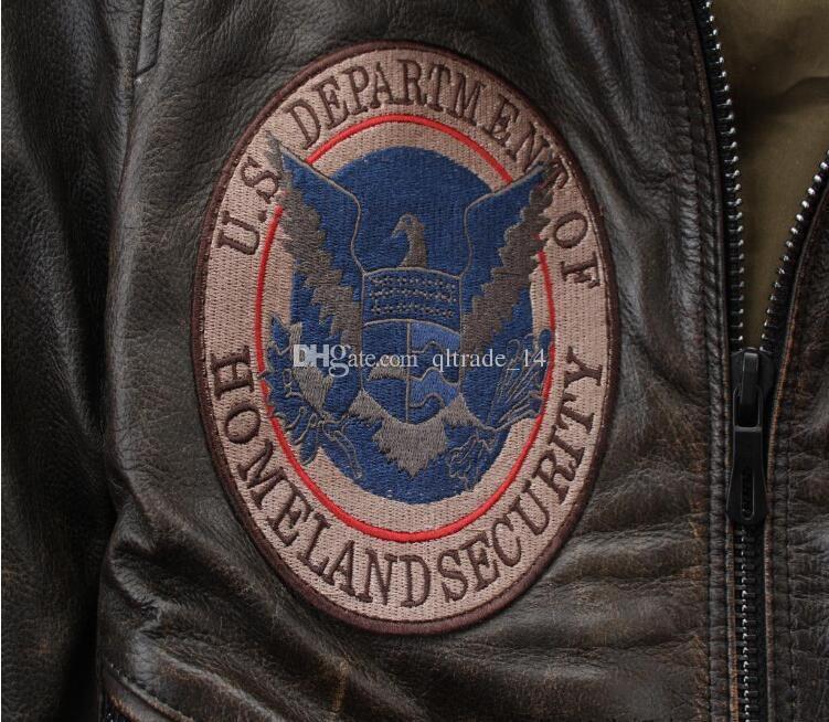 Vintage schwarz AVIREXFLY Herren Motorradjacken mit Stickerei Sicherheit Feuerrettung 100% echte Lederjacke zum Verkauf