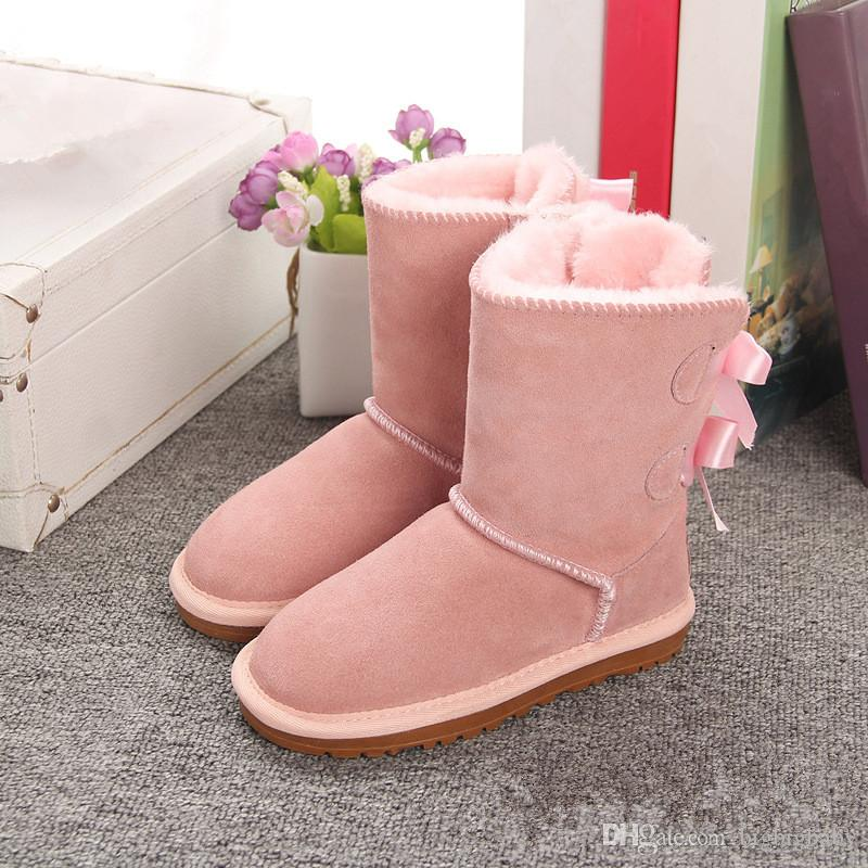 fb6255cab82 New Fashion Winter Children s Snow Boots 2-Bow Back Decoration Australian  Style Cow Suede Leather Winter Girls Outdoor Boots Brand