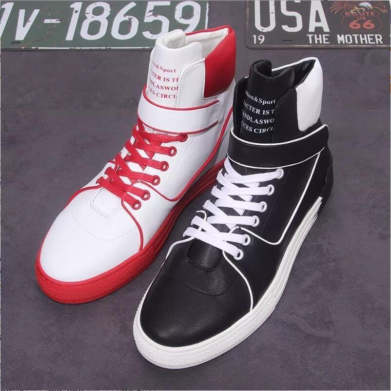 Compre Las Botas Altas De Los Hombres Europeos Nuevos Zapatos De Moda De Otoño  Invierno Patchwork De La Personalidad Zapatos De Tacón Alto Tendencia ... 12756bbe105