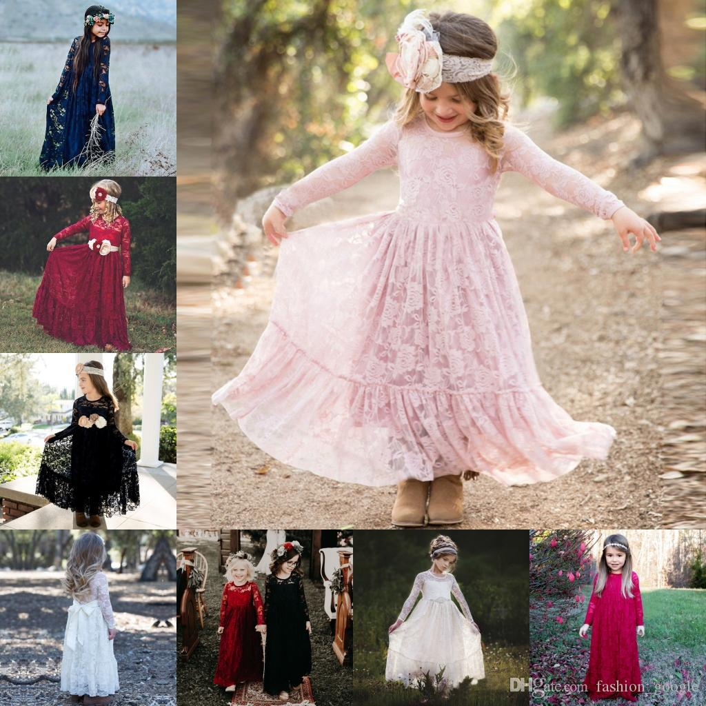 45df1d90f6e Lace Flower Girls Dresses 2018 Long Sleeves Floor Length Blush Burgundy  Black Navy Blue First Communion Dress For Little Girl Bow A Line Little  Girls ...
