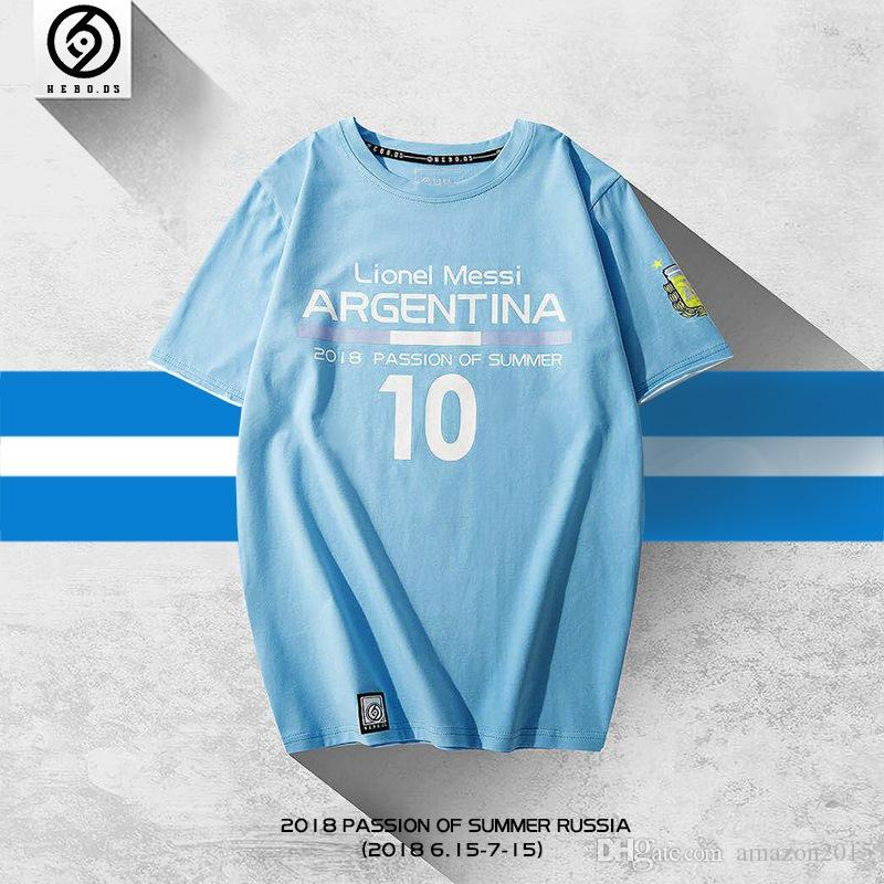 huge discount c3e1d dcc15 HEBO 2018 Lionel Messi Recordative Edition T-shirt World Cup Tshirt  Agentina football team Fashion Printing