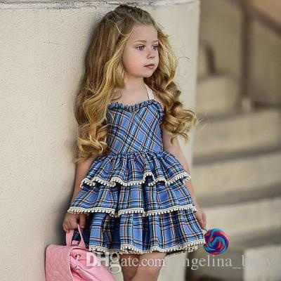 212fa8f72d36 Baby Girls Fashion Sling Lace Plaid Dresses 2018 Kids Red And Blue Plaid  Sleeveless Princess Bow Vest Dress Children Boutique Clothing Baby Princess  Lace ...