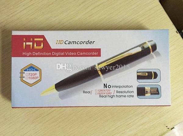 FULL HD 1080 P kalem Mini DV DVR PEN Ses Video Kaydedici Taşınabilir Kalem perakende kutusunda hareket algılama ile pinhole kamera