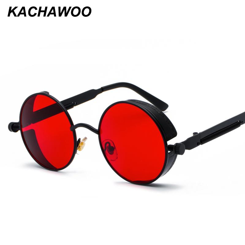 6d79a3c9ce Kachawoo Retro Steampunk Round Sunglasses For Men Gift Women Red Lens Metal Frame  Round Sun Glasses Steampunk Accessories Sunglasses Hut Reading Glasses ...