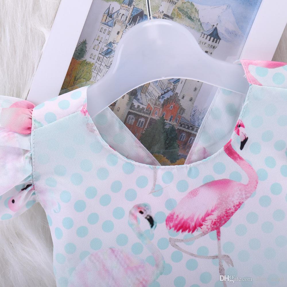 2018 Bebek Kız Flamingo Sinek Kollu Tulum INS Moda Yürüyor çocuk Flamingolar Baskılı Romper Yaz Bebek Sleevless Tulumlar