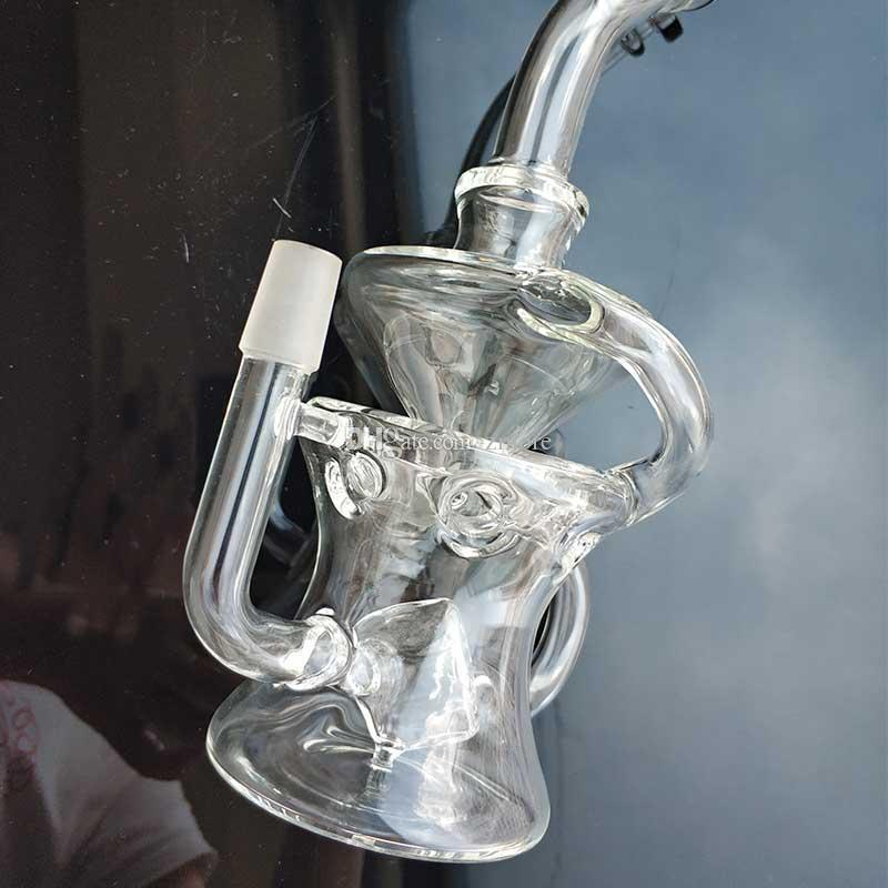 Tubos Forma nuevo diseño de cristal Bongs La mitad Fab huevo Dab plataformas petrolíferas 14,5 mm junta macho Recycler Cubo Perc agua púrpura con Banger