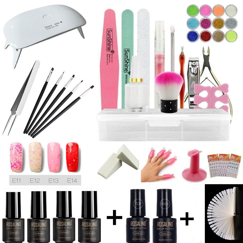 UV Gel Nail Art Kits Mini Nail Dryer Lamp Manicure UV Gel Polish Set ...