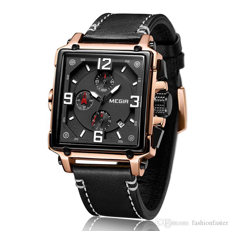 2c39999b37c MEGIR Retro Square Stopwatch Mens Watches Factory Multifunction Fashion  Sport Casual Automatic Quartz Watch Leather Strip Wristwatches Wristwatch  Online ...