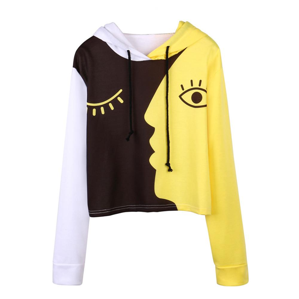 e59c4ce05851 Harajuku Sweatshirt Women Ladies Sweatshirt Hooded Long Sleeve Crop  Patchwork Pullover Tops Unique Moletom Feminina Online with  28.22 Piece on  ...