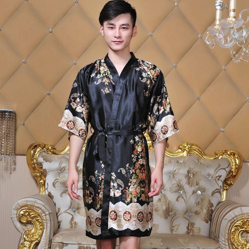 9da3e9d4fedcc Acheter Nouveauté Noir Homme Soie Kimono Bain Robe De Robe Chinois Hommes  Rayon Vêtements De Nuit Unisexe Col En V Pyjama Pyjamas De $23.27 Du Stripe  ...