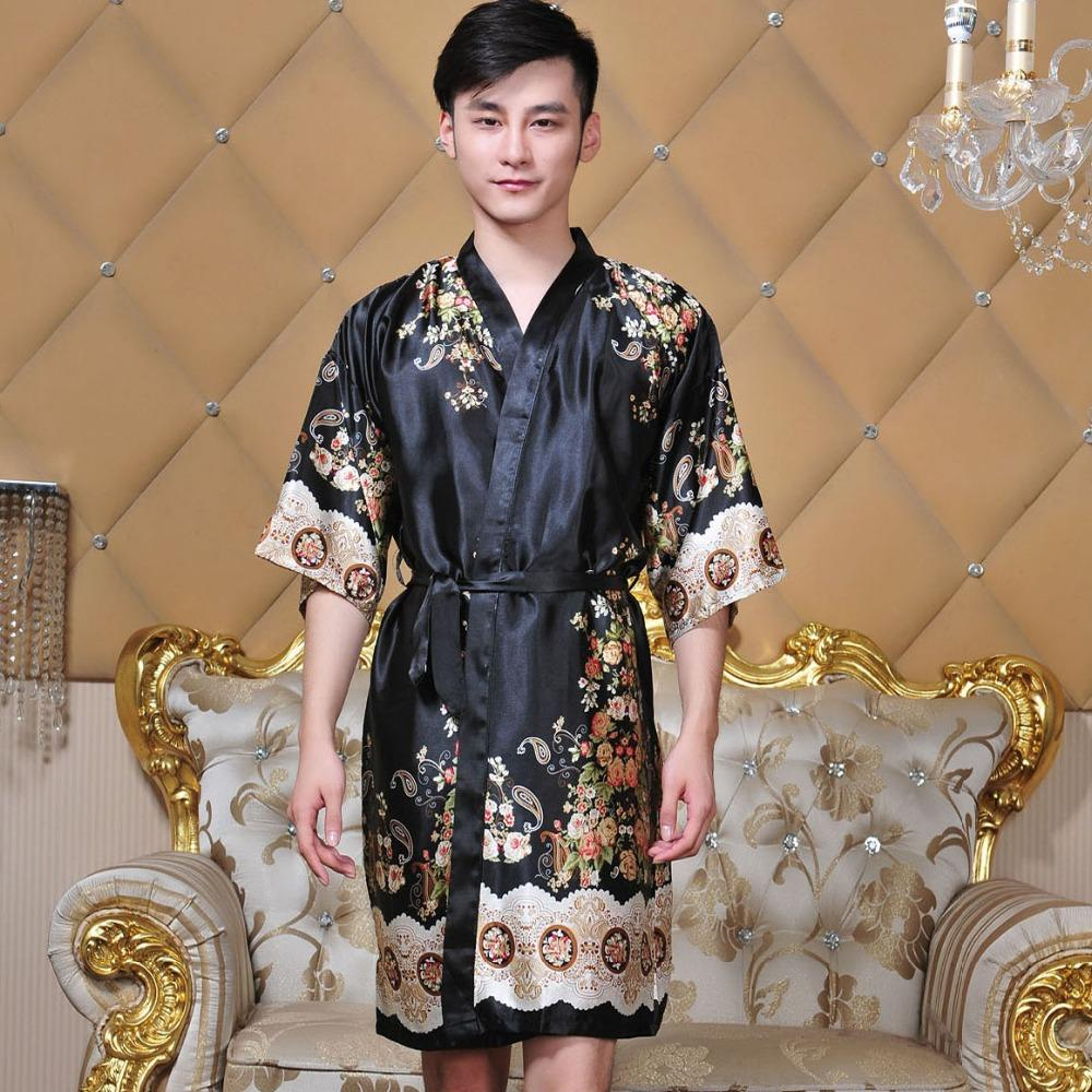 d0208e4a46 2019 Novelty Black Male Silk Kimono Bath Robe Gown Chinese Men Rayon  Nightwear Unisex V Neck Sleepwear Pajama Pijamas From Stripe