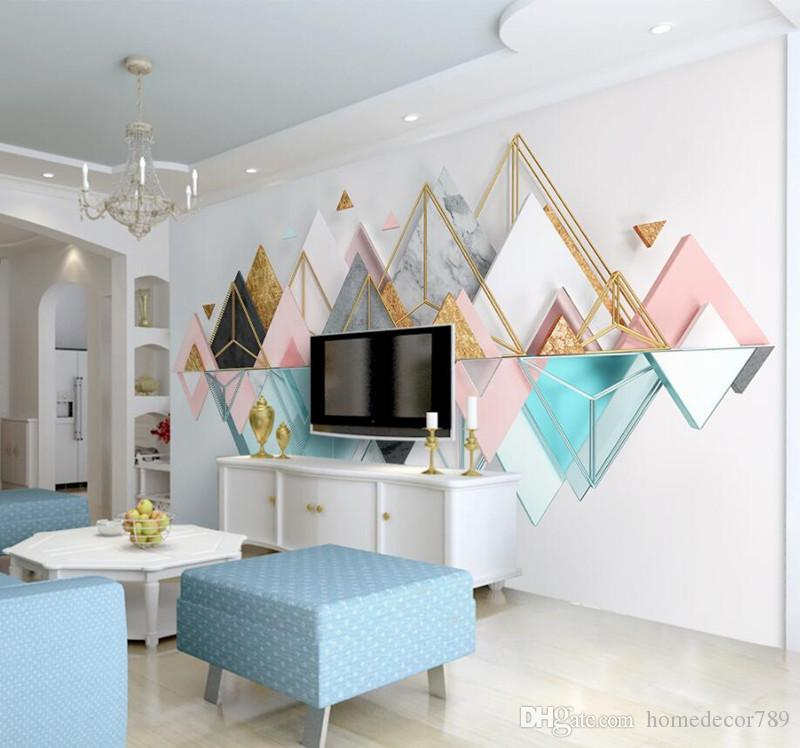 Modern Nordic Style Custom 3D Wallpaper Murals Metallic Glass Geometric Triangle Mural for Living Room Bedroom sofa TV Background Home Decor