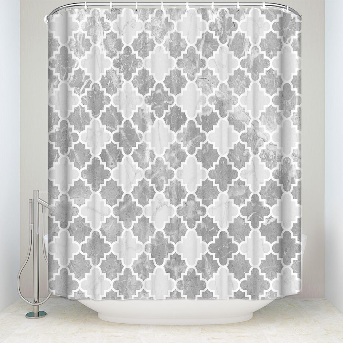 2019 Waterproof Vintage Moroccan Pattern Shower Curtain With Hooks Polyester Fabric Geometric Bathroom Curtains For Home Decorations From Icelly