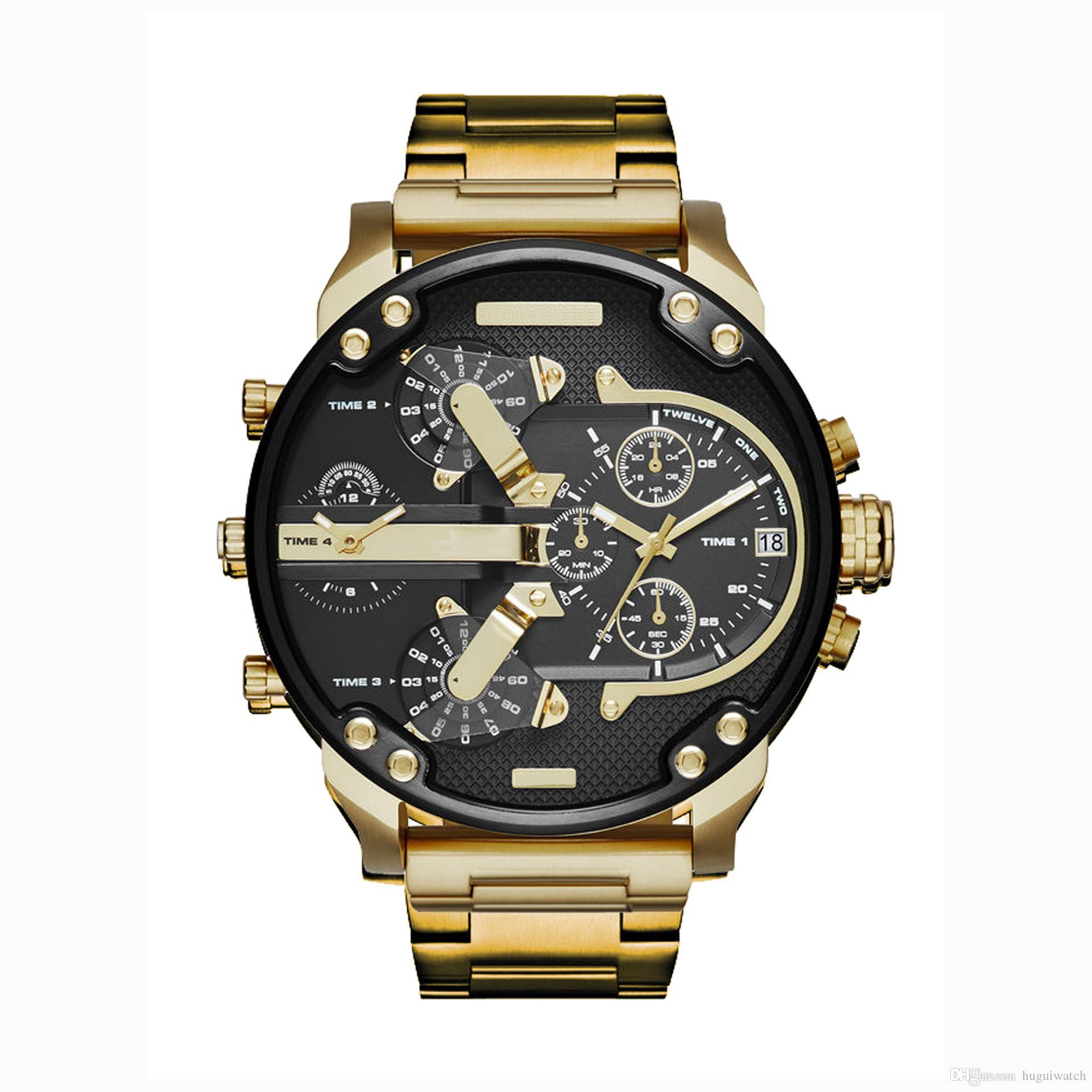 c37847193b3 Compre New Chegou Moda Dos Homens Grande Dial DZ Estilo Relógios De Ouro  Para O Homem Promoção Calendário À Prova D  água Relógio De Quartzo Do  Exército ...