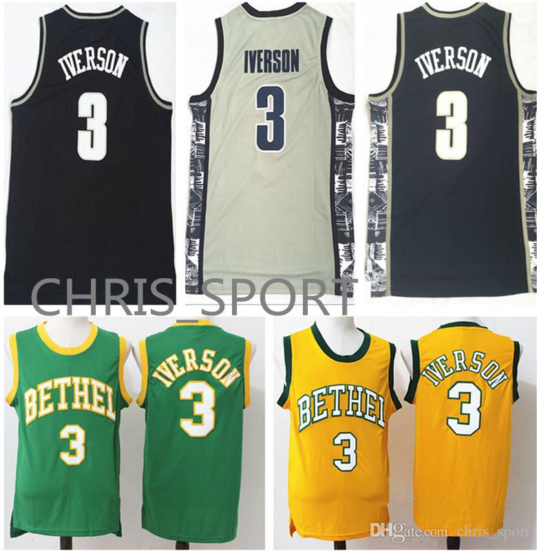 new arrival ac909 e587e Georgetown College Basketball Throwback Jerseys Hoyas player Allen Iverson  #3 jersey Bethel high school classic/retro/sixer uniform
