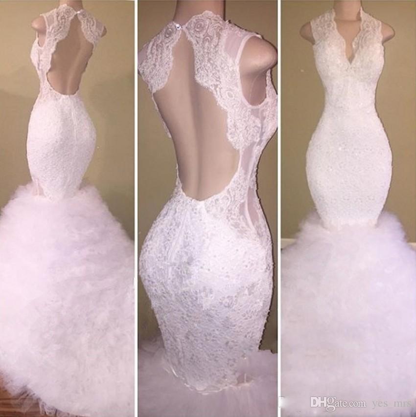 2018 Gorgeous Appliques in pizzo bianco Prom Dresses Scollo a V aperto indietro con perline Mermaid Puffy Tulle Sweep Train Backless guaina Abiti da sera partito