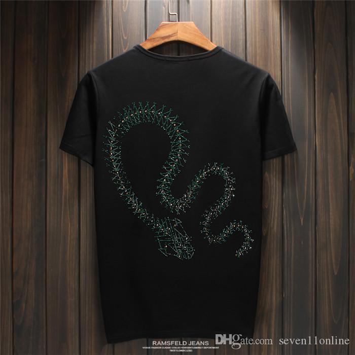 2018 супер популярные высокое качество мужчины супер роскошные змея Алмаз дизайн футболки мода футболки мужчины смешные футболки Марка хлопок топы и тройники