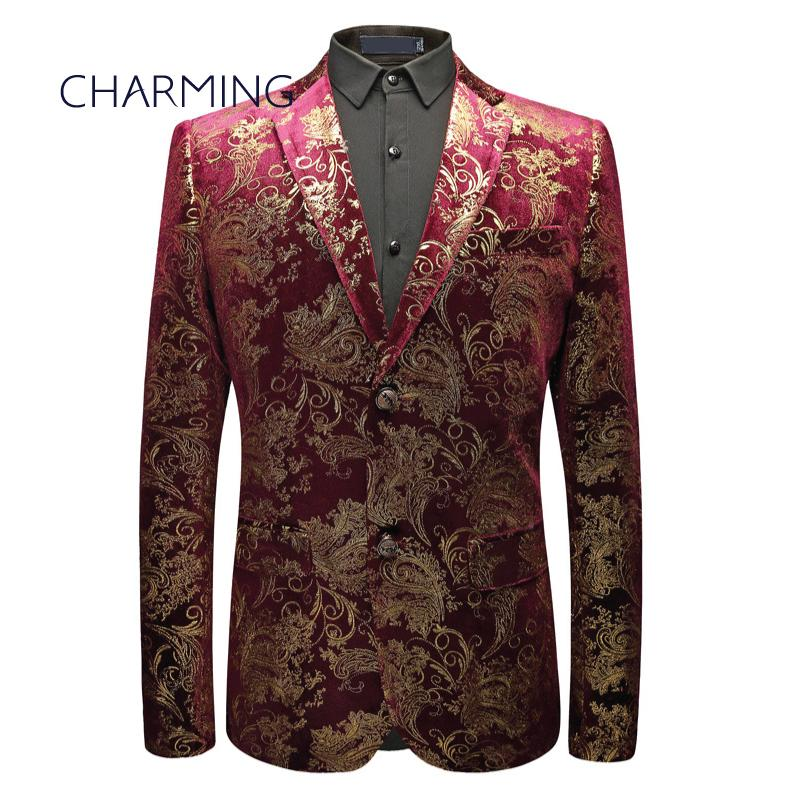 Dress suit men High-end custom gold velvet fabric stamping printing design Gentleman menswear suits Fit singer actor performance male suits