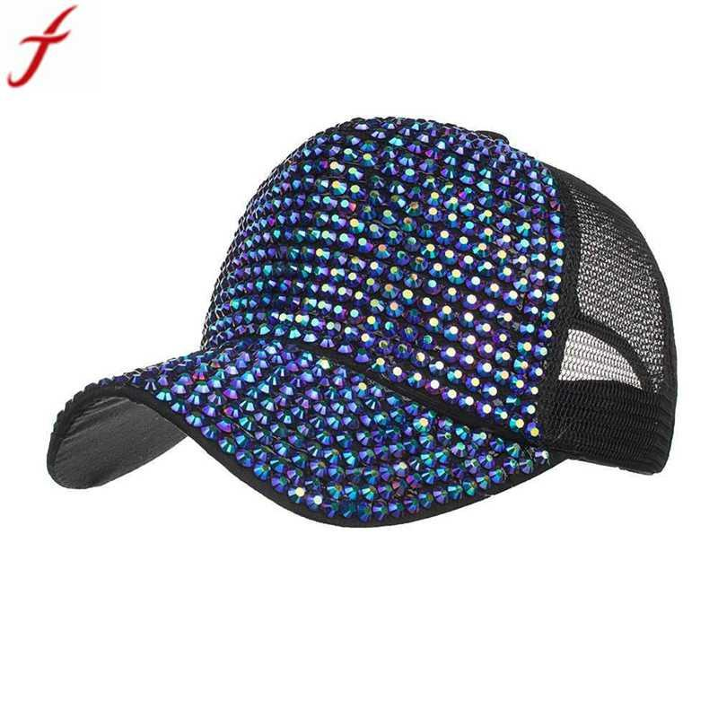 470ca1ccc Women Rhinestone Hats Female Baseball Cap Mesh snapback caps Bling Diamond  Hip Hop Cap For Women Men gorras para hombre #15
