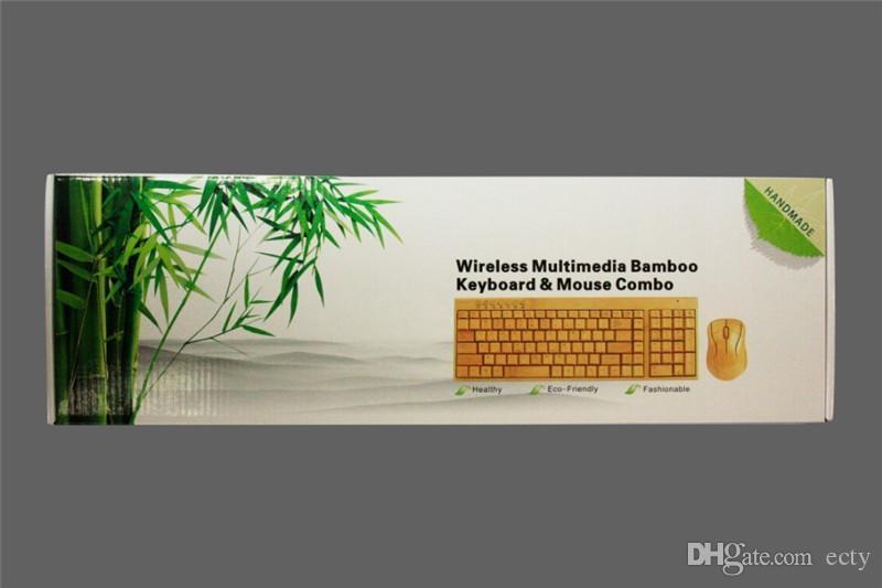 Sem fio Teclado de Bambu Multimídia e Mouse Combo 2.4G Bambu Proteção Ambiental Baixo Carbono Saudável Confortável para Uso Livre DHL