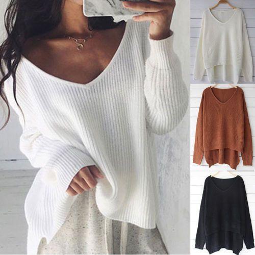 2019 Female Ladies Warm Off Shoulder Sweaters Women S Long Sleeve Loose  Knitted Sweater Jumper Knitwear Outwear C18110601 From Linmei0005 c742b1175