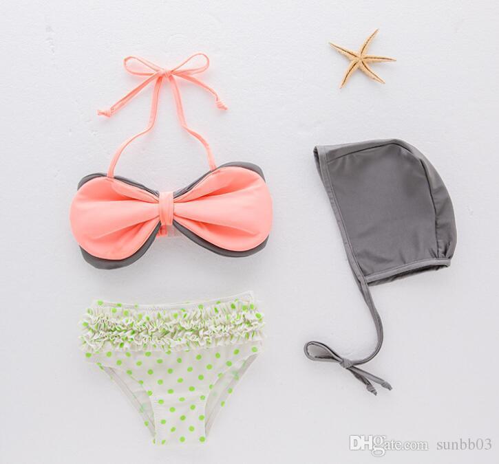 4885559cc1 2019 Summer Baby Kids Girls Swimsuit Dots Cartoon Bikini Swimsuit With Cap Girl  Bathing Suit Childrens Swimwear 13403 From Sunbb03, $47.67   DHgate.Com