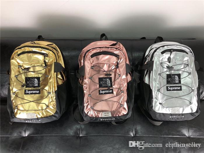 abf3fcb8c 18ss Sup the north Metallic Borealis backpack school bag fashion Street  duffle bags men women waterproof sport backpacks travel outdoor bags