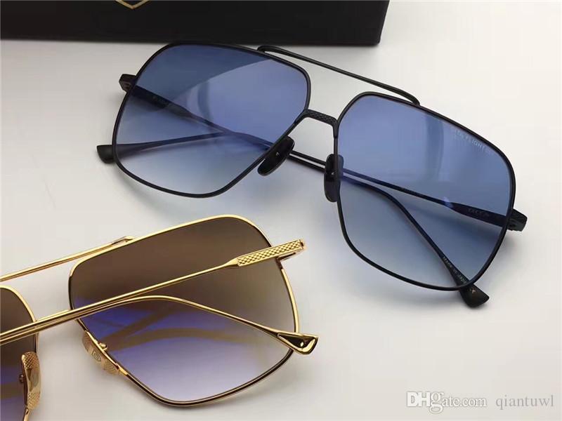 Serin Erkek Kare Metal Siyah / Mavi Pilot Güneş Gözlüğü 005 Sonnenbrille güneş gözlükleri Gözlük Sürüş Gözlük Moda Yeni box