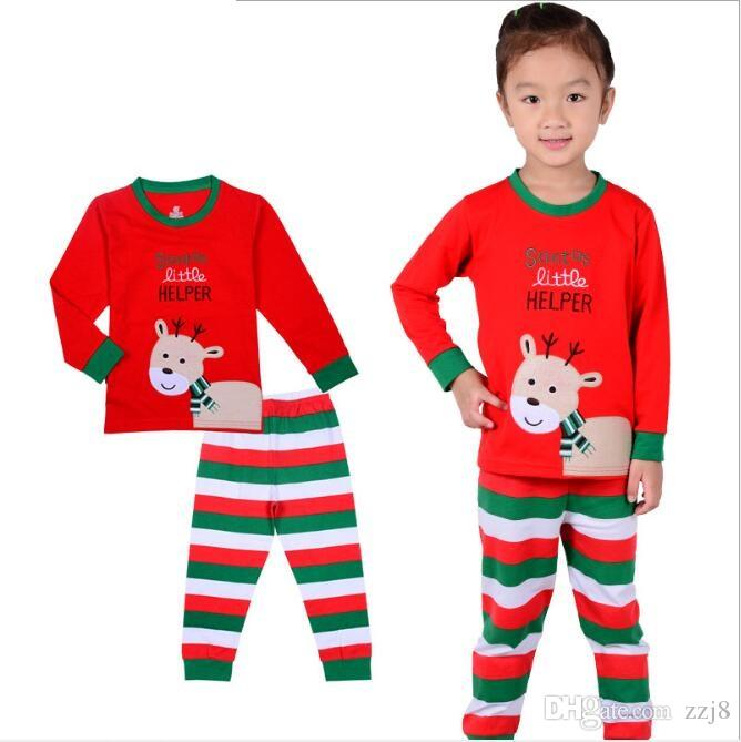 289b6be141 Baby Clothes Christmas Boys Girls Pajamas Set Top   Pants Children Home Wear  Fit 2 7 Kids Christmas Pjs Boys Pajamas For Kids Christmas From Zzj8
