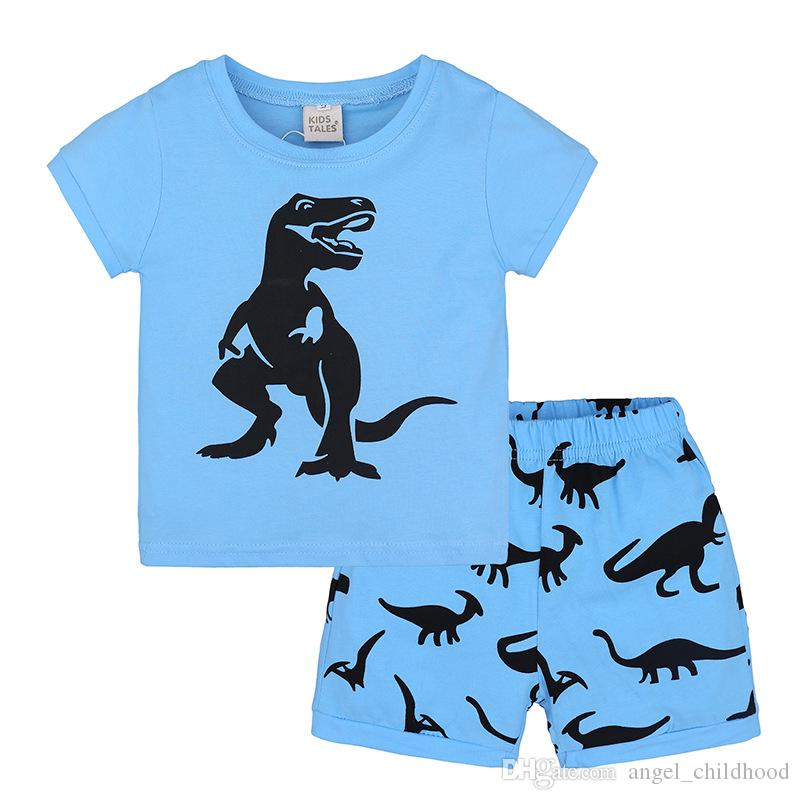 ab4e368fd60ce Boys Clothing Sets Summer Kids Cotton Blue T-shirt+Shorts Suit Baby ...