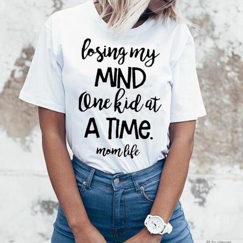 65310e0e6e7f5 Women s Tee Losing My Mind One Kid At A Time Mom Life Tumblr T-shirt  Fashion Popular Tee Style Ladies Gray Mom Tops Clothing T Shirt Women