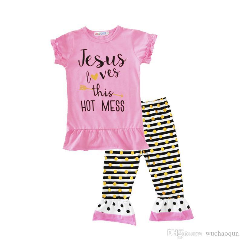 Bebek Çocuk Giyim Seti Harfler tişörtleri Pantolon Bantlar Set Moda Yaz Kız bebek Çocuk Takım Elbise Butik Giyim Kıyafetleri BY0122-6 Tops