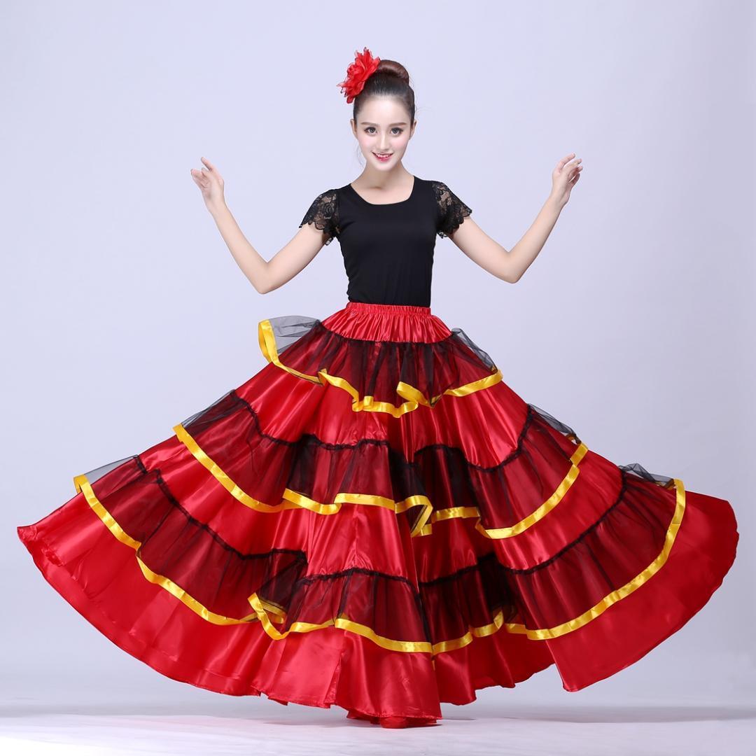 2d8d663d9 Falda flamenca española Falda de danza del vientre Ropa española Trajes de  baile para mujer Disfraz de flamenco Disfraz de Brasil