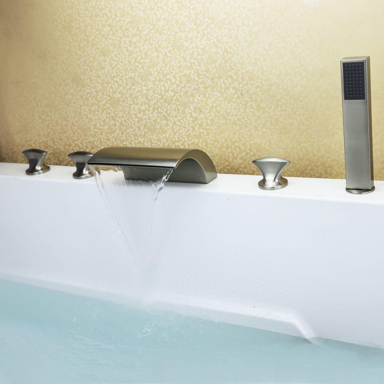 Best Brushed Nickel Tub Shower Waterfall Faucet Free Ship Roman Tub ...