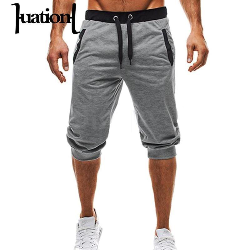 f7548dd8a2718 Compre Huation 2018 Homens Verão Moletom Calções Casuais Calças Crossfit De Fitness  Musculação Dos Homens Calções Berrudas Masculino De Tutucloth