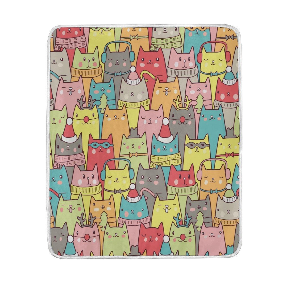 christmas colorful cute cat blanket soft warm cozy bed couch