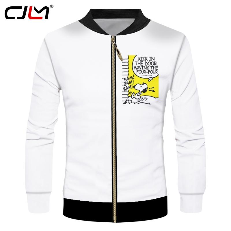09b6ca258a1f CJLM White Jackets Men S Funny Print Cartoon Dog 3d Jacket Casual Coats  Male Fit Slim Long Sleeve Pocket Outwears Dropshipping Fur Denim Jacket  Jackets Uk ...