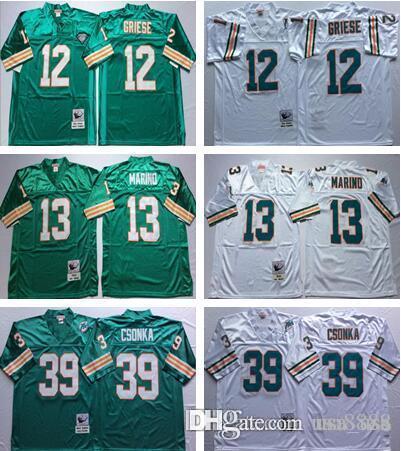 b2ad5e538 Miami Men Dolphins  12 Bob Griese Jersey Embroidery  13 Dan Marino ...