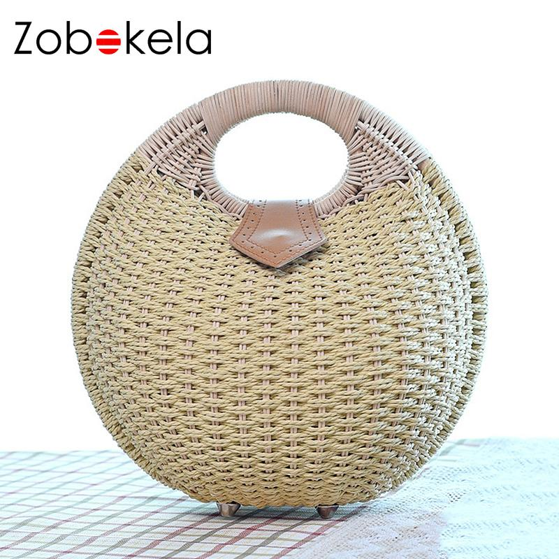 ZOBOKELA Women Bag Summer Style Woven Bag Straw Weave Clutches Shell Beach Handbags Women Fashion Travel Handbags Straw 2017