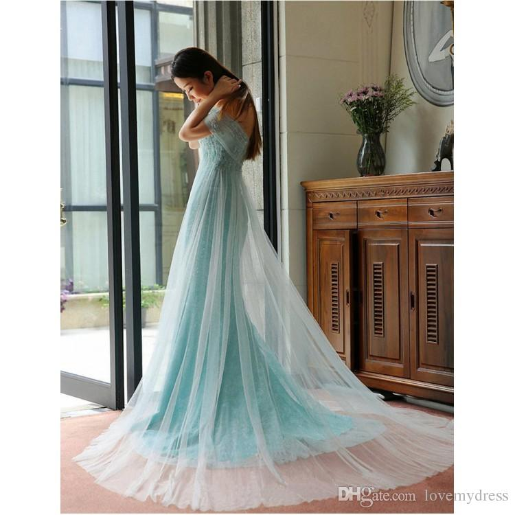 Light aqua off shoulders Prom Dresses With Sleeves Lace Tulle Sheath Beaded Sweep Train Long Cheap Plus size Evening Cocktail Dress Gowns