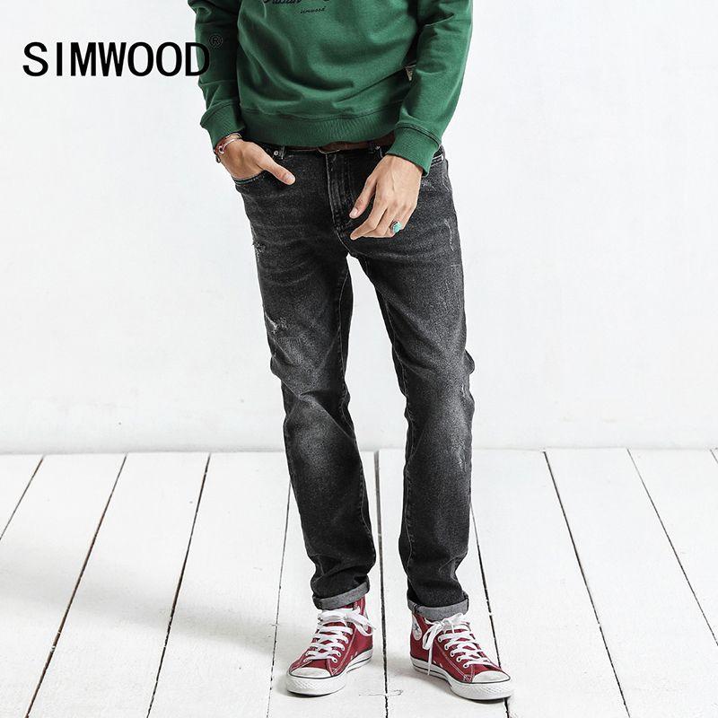 c1dabfcb4f Compre SIMWOOD 2018 Otoño Invierno Nuevos Jeans Hombres Slim Fit Fashion  Hole Denim Flaco Pantalones Rasgados Plus Size Casual NC017015 D18102402 A   51.26 ...