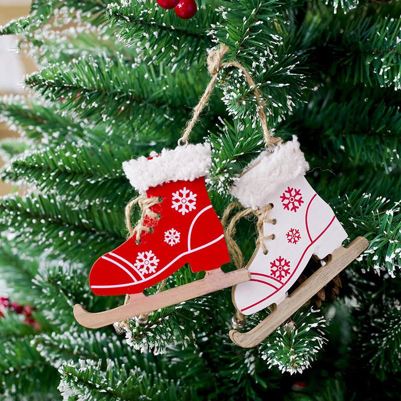 cute christmas decorative ornament snowflake pattern skating shoes wooden craft christmas tree decoration for home xmas new year d18110504 christmas house