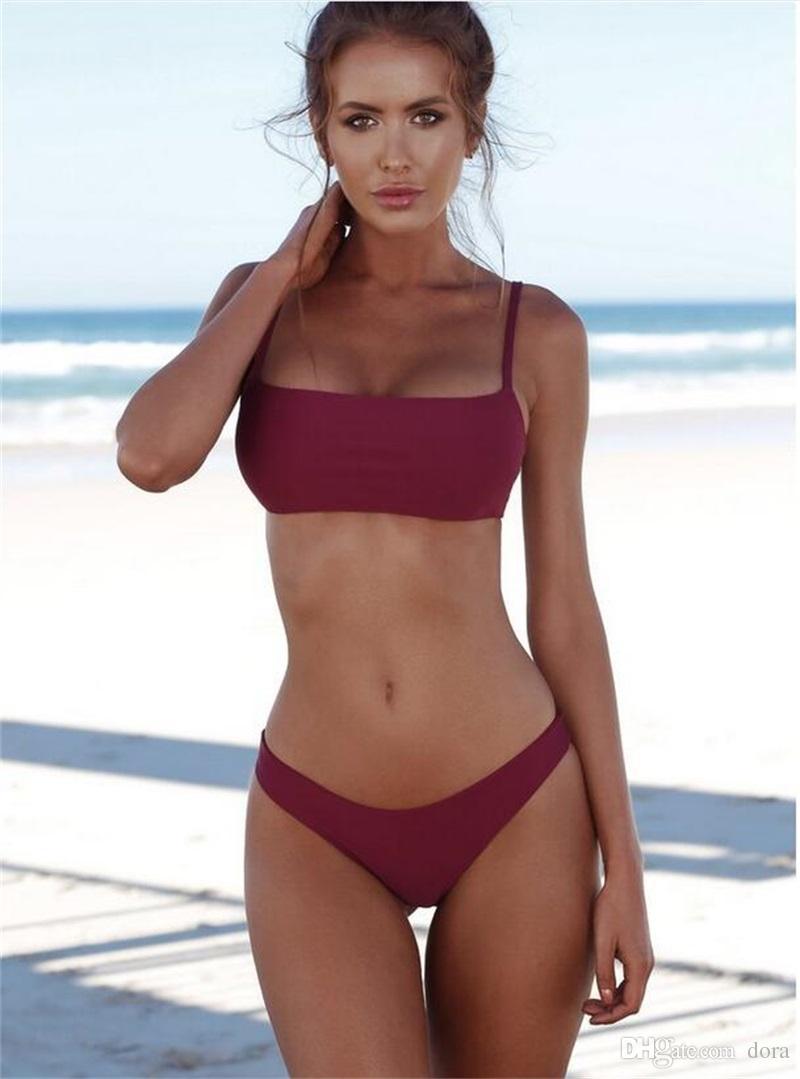 97e427d76a659 2018 Summer Women Solid Bikini Set Push-up Unpadded Bra Swimsuit ...