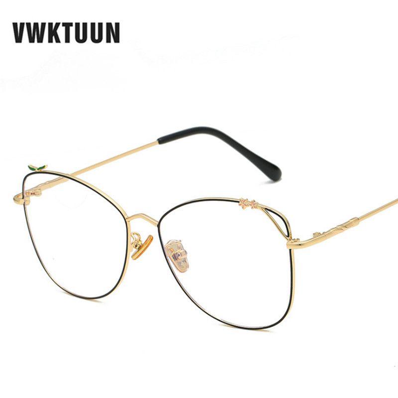 3939277410 VWKTUUN Spectacle Frame Round Glasses Frame Clear Lens Womens Eyewear  Optical Frames Myopia Metal Eyeglasses Anti Blue Ray Eyewear Frames Cheap  Eyewear ...
