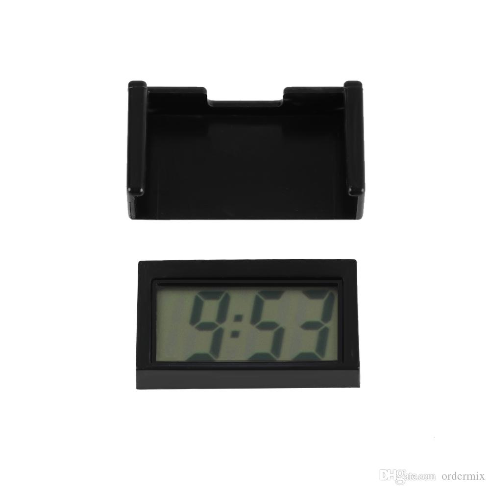 BK-208 Car Auto Dashboard Escritorio Reloj Digital Pantalla LCD Autoadhesiva Soporte Interior Del Coche Accesorios Etiqueta Hora Fecha Alta Calidad